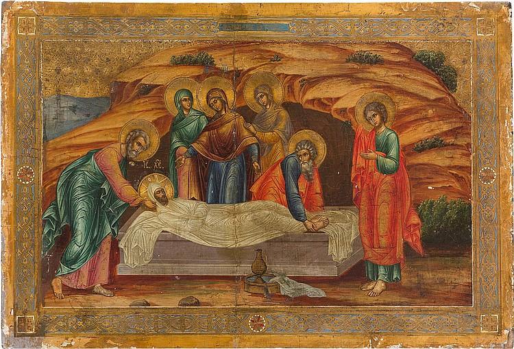 GROSSFORMATIGE IKONE MIT DER GRABLEGUNG CHRISTI
