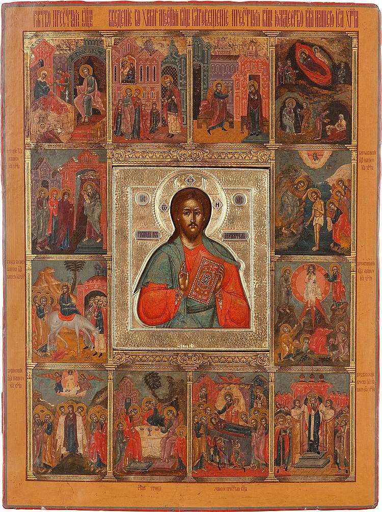 MONUMENTALE IKONE MIT CHRISTUS PANTOKRATOR MIT VERMEIL-RIZA UND DEN HOCHFESTEN DES ORTHODOXEN KIRCHENJAHRES