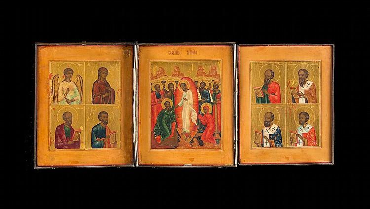 SEHR FEINES TRIPTYCHON MIT DER HADESFAHRT CHRISTI UND DER BEFREIUNG DER VORVÄTER UND AUSGEWÄHLTEN HEILIGEN