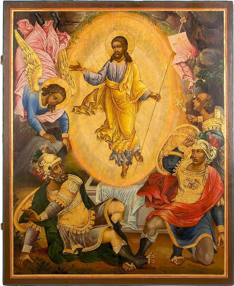 MONUMENTALE IKONE MIT DER AUFERSTEHUNG CHRISTI AUS EINER IKONOSTASE