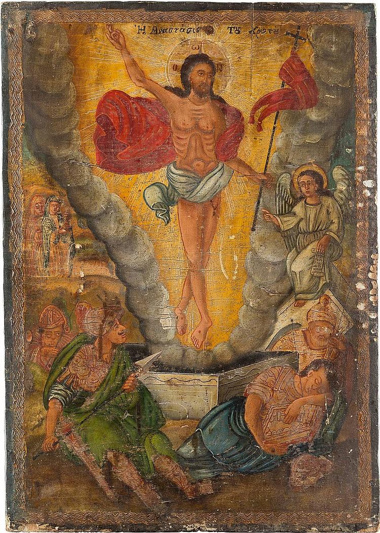 GROSSFORMATIGE IKONE MIT DER AUFERSTEHUNG CHRISTI