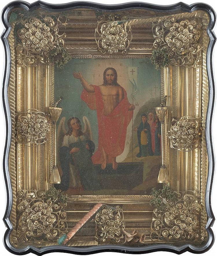 GROSSFORMATIGE IKONE MIT DER AUFERSTEHUNG CHRISTI IM KIOT