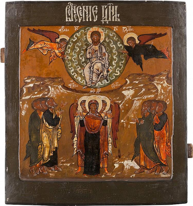 GROSSFORMATIGE IKONE MIT DER HIMMELFAHRT CHRISTI AUS EINER IKONOSTASE