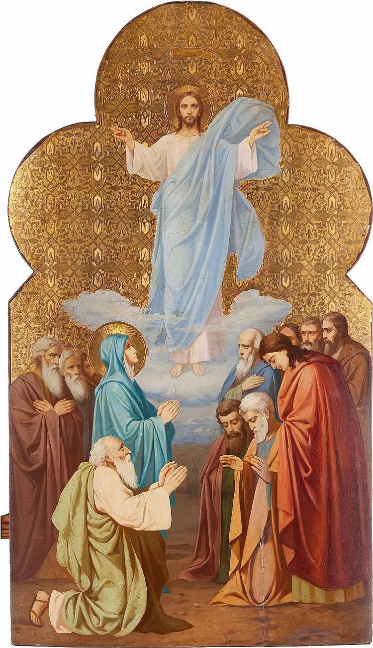 MONUMENTALE IKONE MIT DER HIMMELFAHRT CHRISTI AUS EINER KIRCHENIKONOSTASE