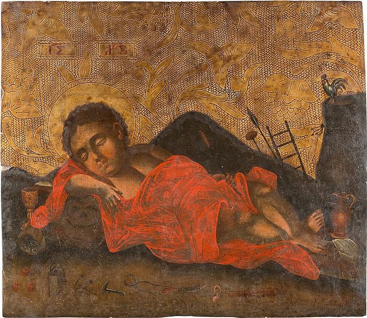 GROSSFORMATIGE UND SELTENE IKONE MIT CHRISTUS, DAS NICHT SCHLAFENDE AUGE