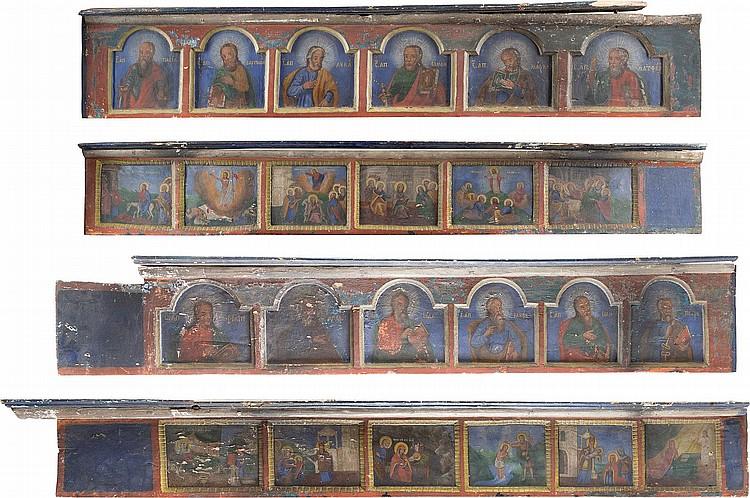 VIER PANELE MIT DER APOSTEL- UND FESTTAGSREIHE EINER KIRCHENIKONOSTASE