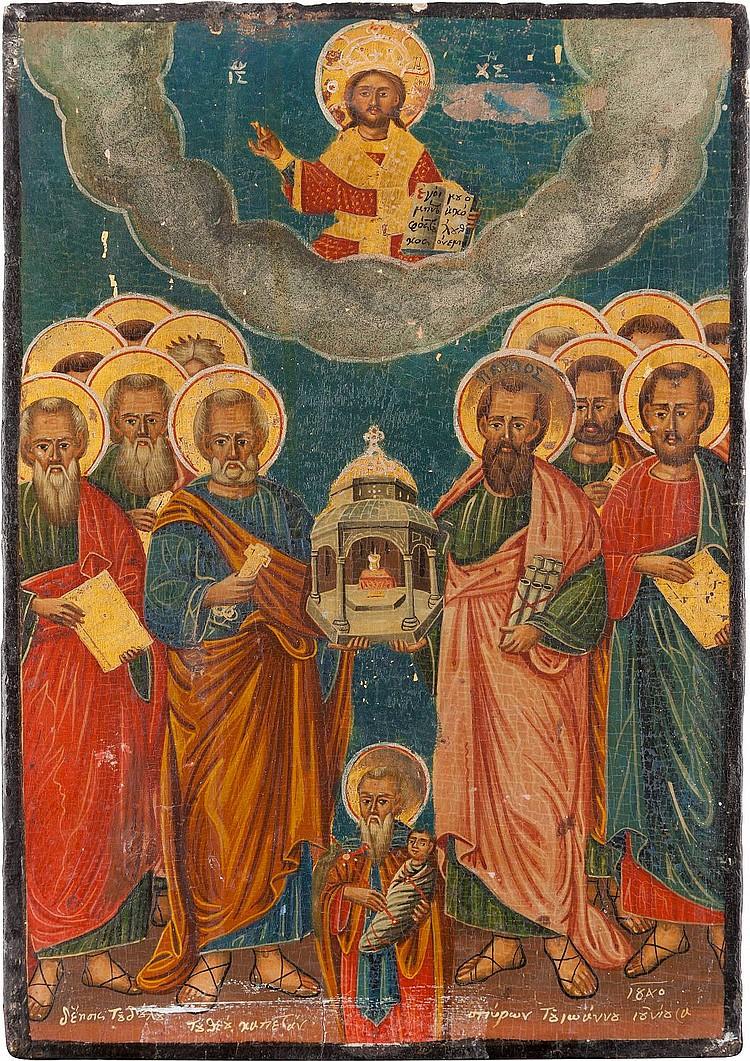 IKONE MIT DEN APOSTELN UND DEM HEILIGEN STYLIANOS