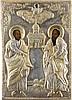 IKONE MIT DEN APOSTELN PETRUS UND PAULUS MIT SILBER-OKLAD