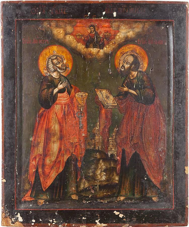 FEINE UND GROSSE IKONE MIT DEN APOSTELN PETRUS UND PAULUS