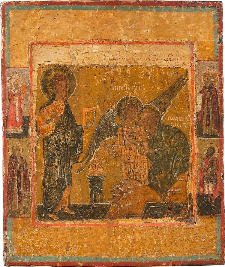SELTENE IKONE MIT CHRISTUS UND JOHANNES, THEOLOGE IM SCHWEIGEN