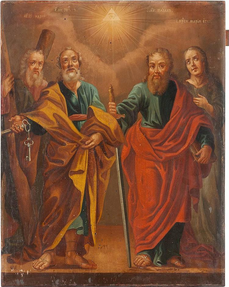 GROSSFORMATIGE IKONE MIT DREI APOSTELN UND DER HEILIGEN MARIA VON ÄGYPTEN