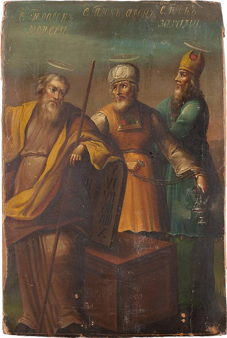 IKONE MIT DEN DREI PROPHETEN MOSES, AARON UND ZACHARIAS