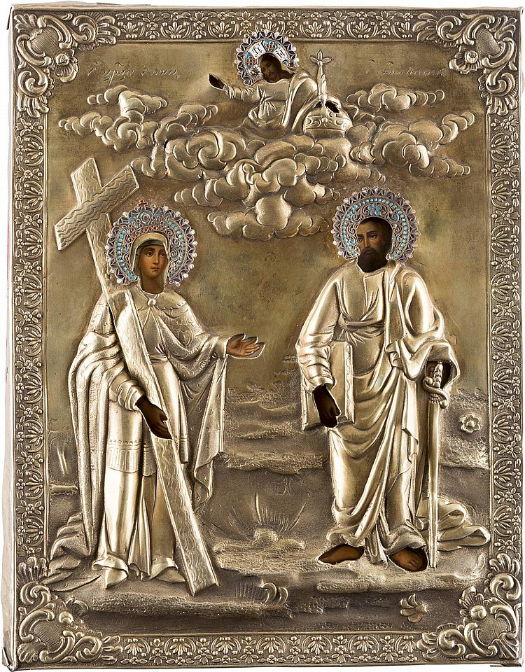 IKONE MIT DER HEILIGEN HELENA UND DEM APOSTEL PAULUS MIT VERMEIL-OKLAD
