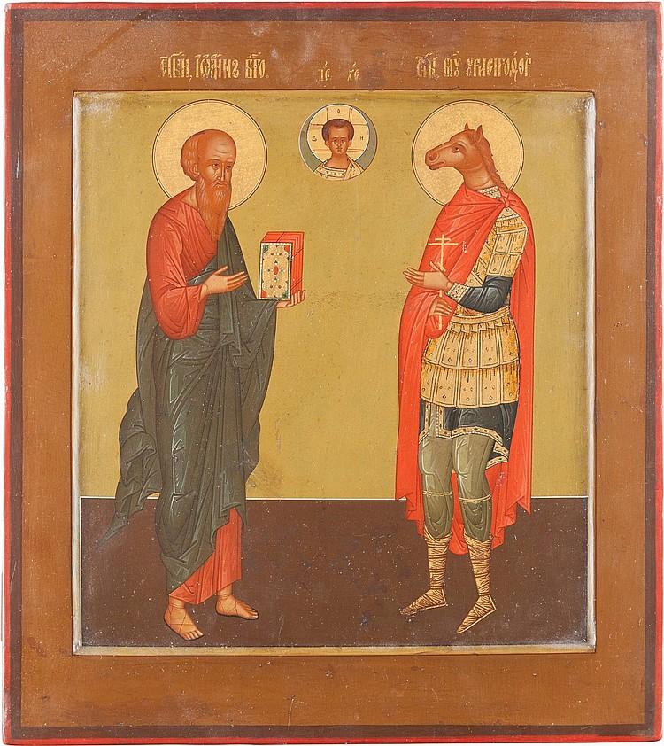 SEHR FEINE UND GROSSFORMATIGE IKONE MIT JOHANNES EVANGELISTA UND DEM HUNDSKÖPFIGEN CHRISTOPHORUS KYNOKEPHALOS