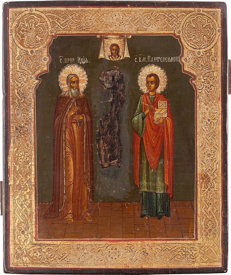 IKONE MIT DEM PROPHET ELIAS UND DEM HEILIGEN PANTELEIMON