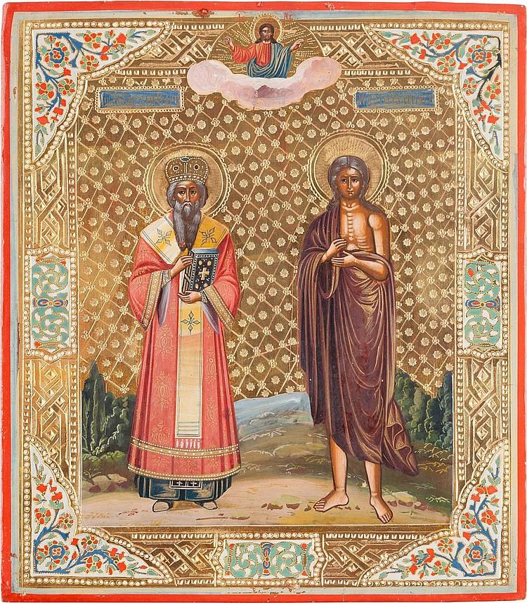 IKONE MIT DEM HEILIGEN BASILIOS DEM GROSSEN UND DER HEILIGEN MARIA VON ÄGYPTEN