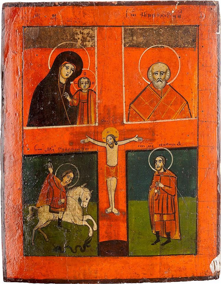 VIERFELDER-IKONE MIT DER KREUZIGUNG CHRISTI