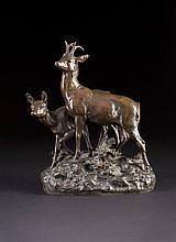 JULES-EDMOND MASSON 1871 Paris - 1932 ebenda (?) Zwei Rehe Bronze, braun pa