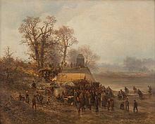 BERNHARD MÜHLIG 1829 Eibenstock - 1910 Dresden Fischfang an der Elbe Öl auf