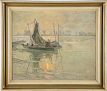 ERICH FREIHERR VON PERFALL Düsseldorf 1882 - 1961 Fischerboote am Niederrhe