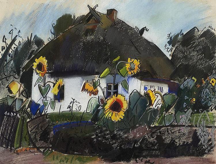 Bauernhaus mit Sonnenblumen