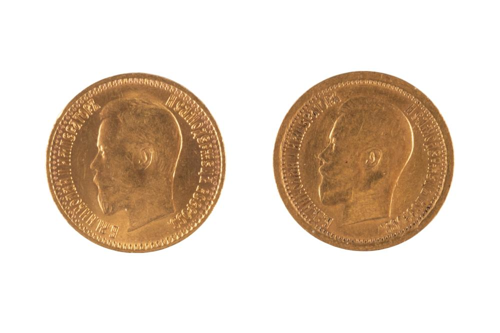 TWO 7.5 ROUBLES GOLD COINS