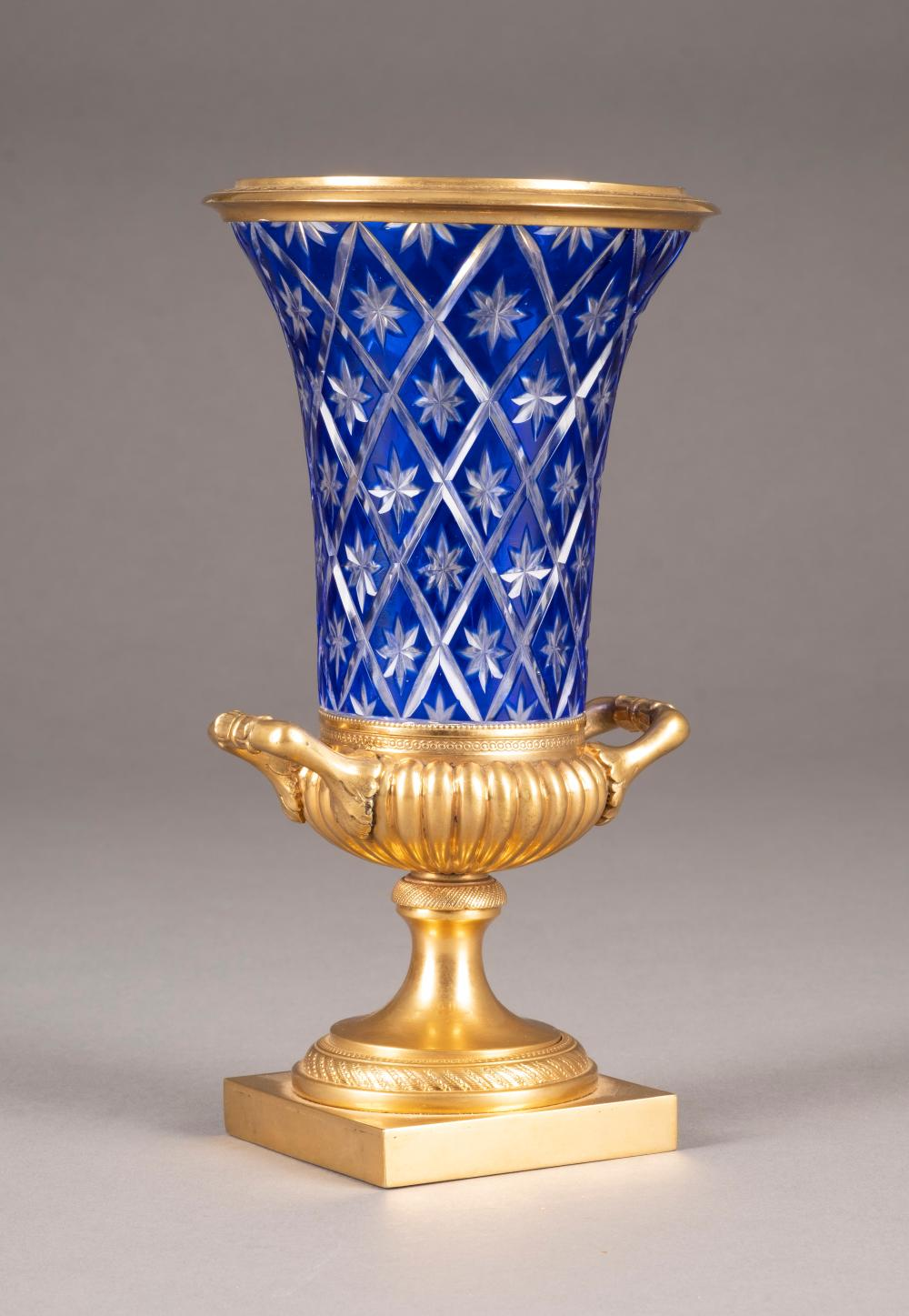 AN ORMOLU AND COBALT-BLUE CUT-GLASS VASE