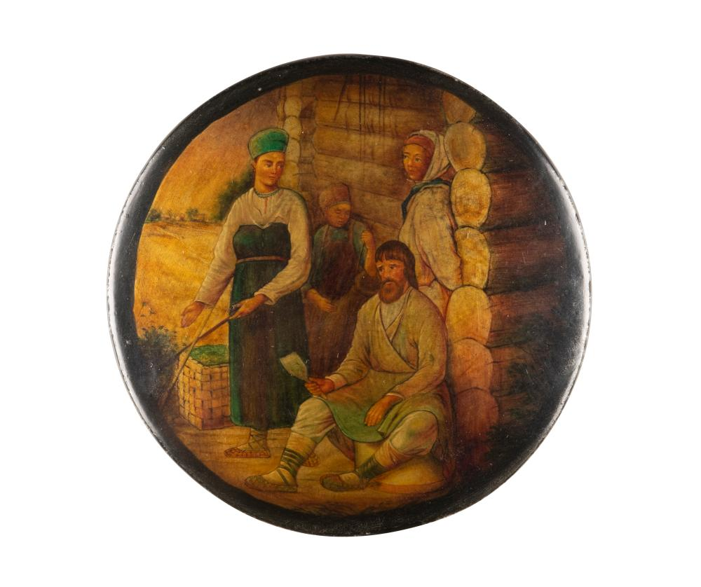 A LPAPIERMACHÉ AND LACQUER BOX WITH RUSSIAN PEASANTS