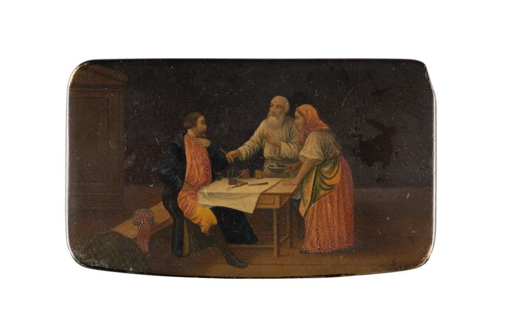 A PAPIERMACHÉ AND LACQUER BOX SHOWING RUSSIAN PEASANTS