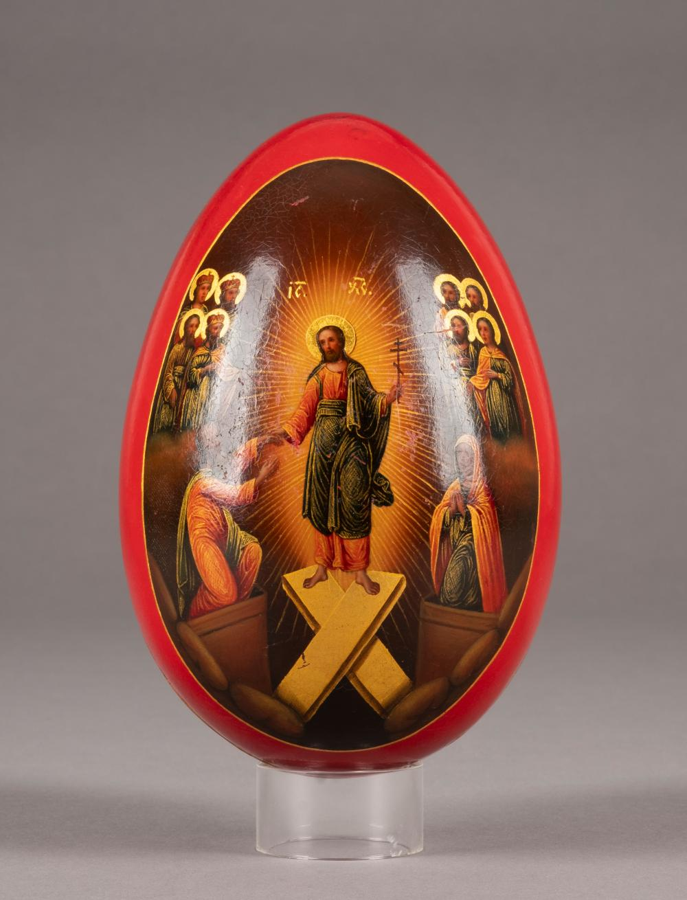 A LARGE PAPIER-MACHÉ AND LACQUER EASTER EGG SHOWING THE DES