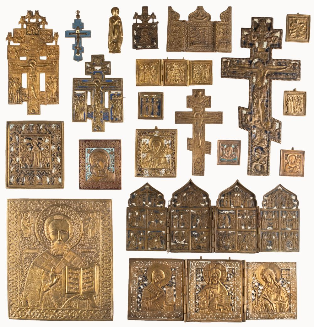 THREE TRIPTYCHS, QUADRIPTYCH, FIVE CRUCIFIXES AND ELEVEN BR
