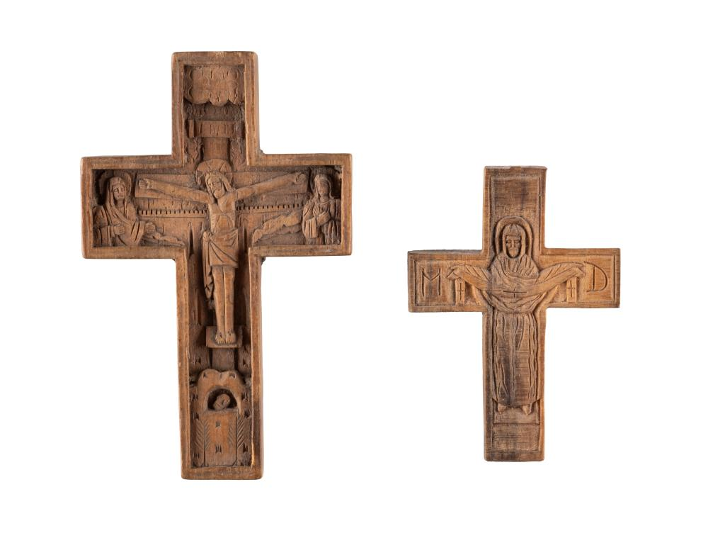 TWO WOODEN CRUCIFIXES