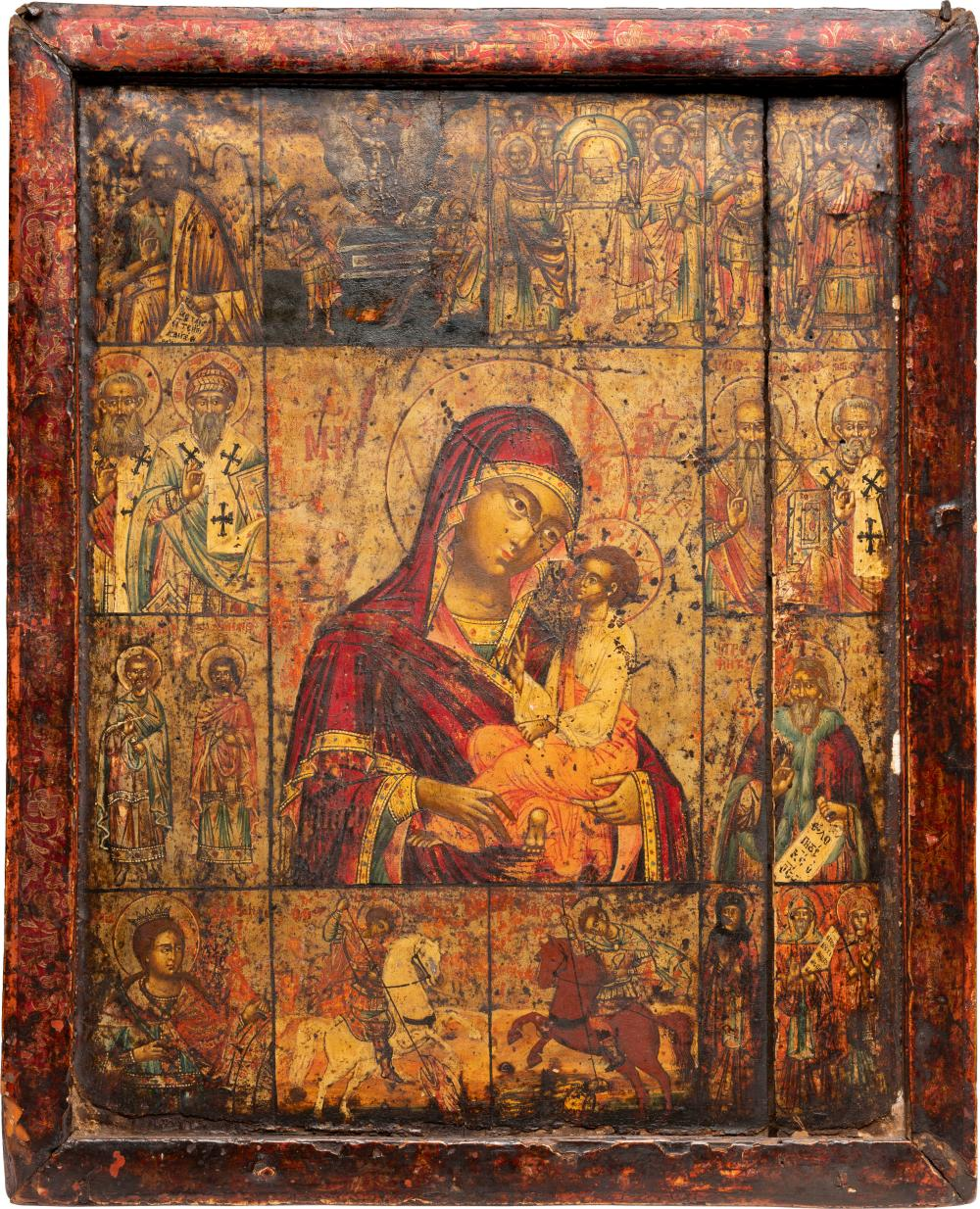 A LARGE MELCHITE ICON SHOWING THE MOTHER OF GOD AND SELECTE