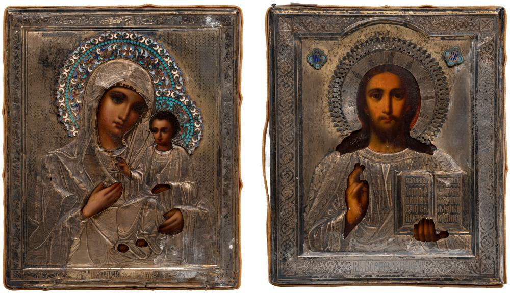 A PAIR OF WEDDINGS ICONS SHOWING CHRIST PANTOKRATOR AND THE