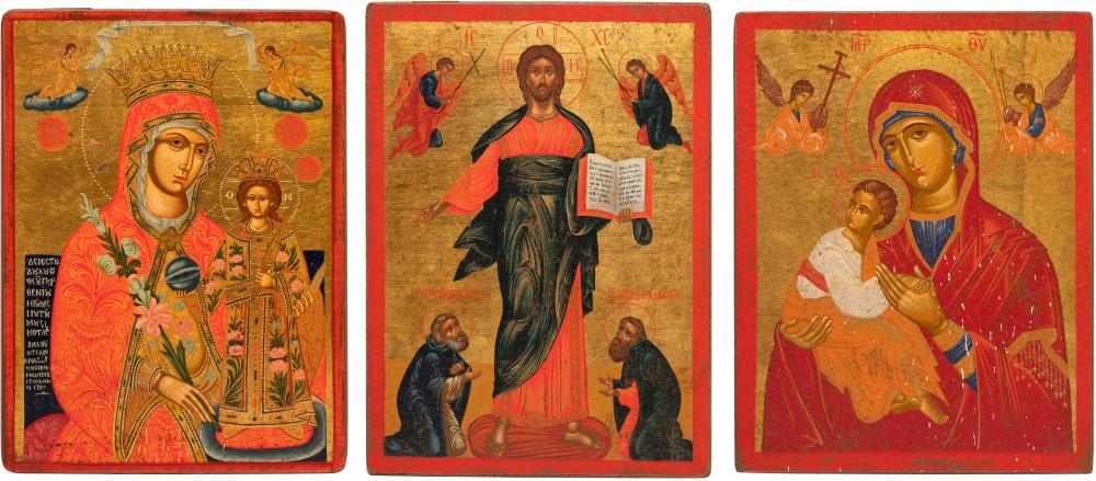 THREE ICONS SHOWING CHRIST AND THE MOTHER OF GOD
