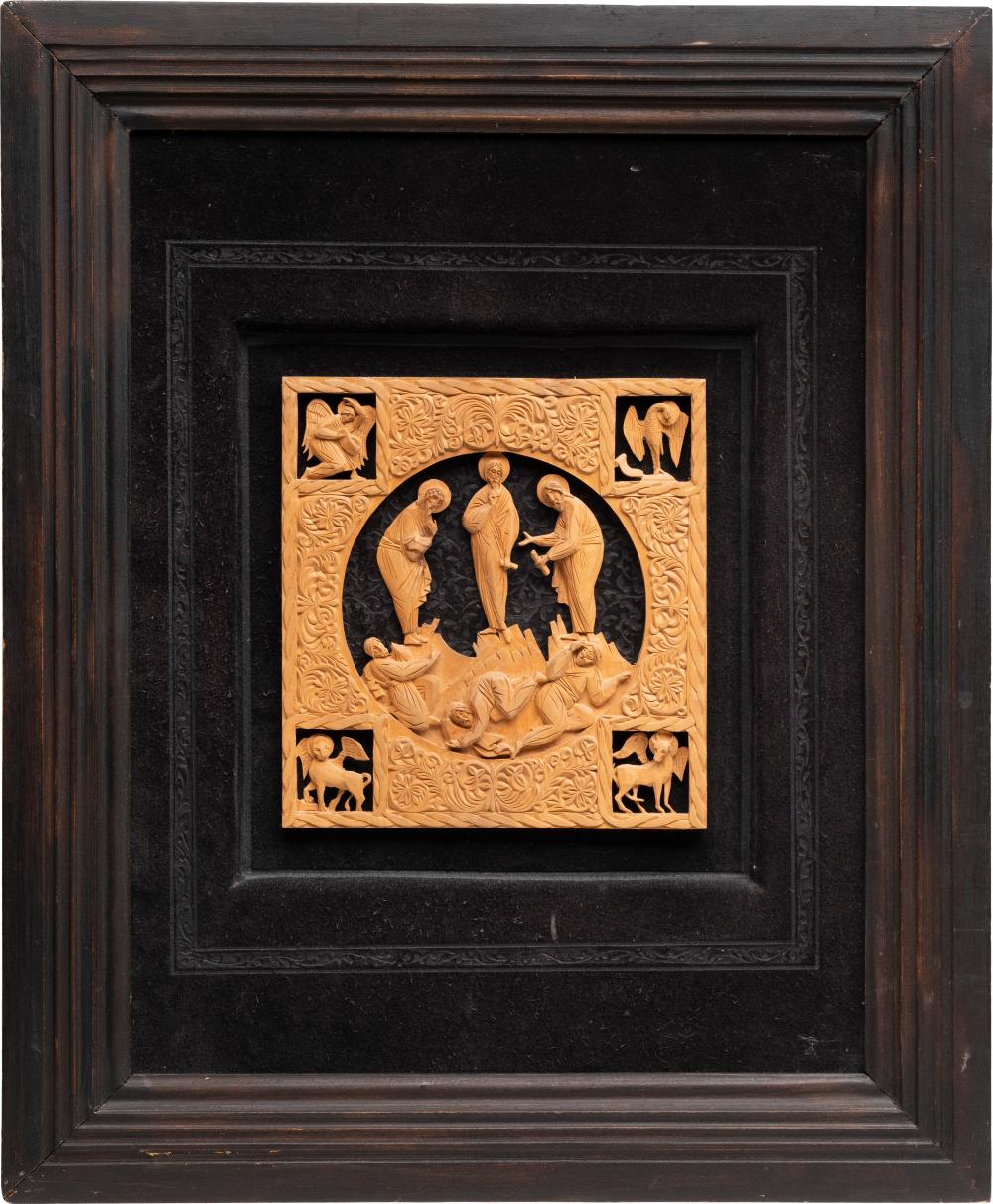 A WOOD CARVING SHOWING THE TRANSFIGURATION OF CHRIST
