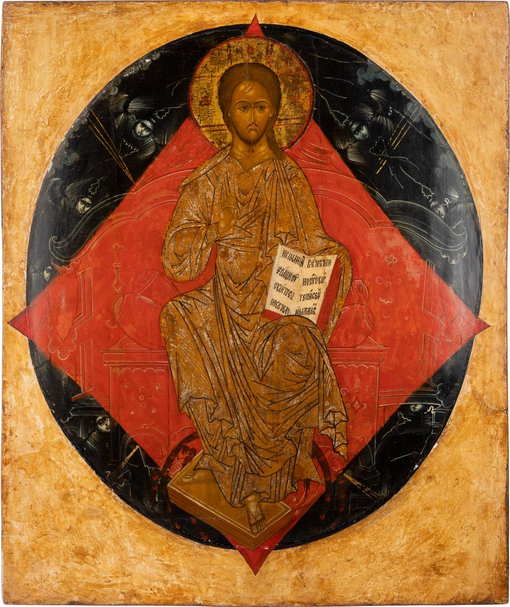 A MONUMENTAL ICON OF CHRIST IN MAJESTY FROM A CURCH ICONOST