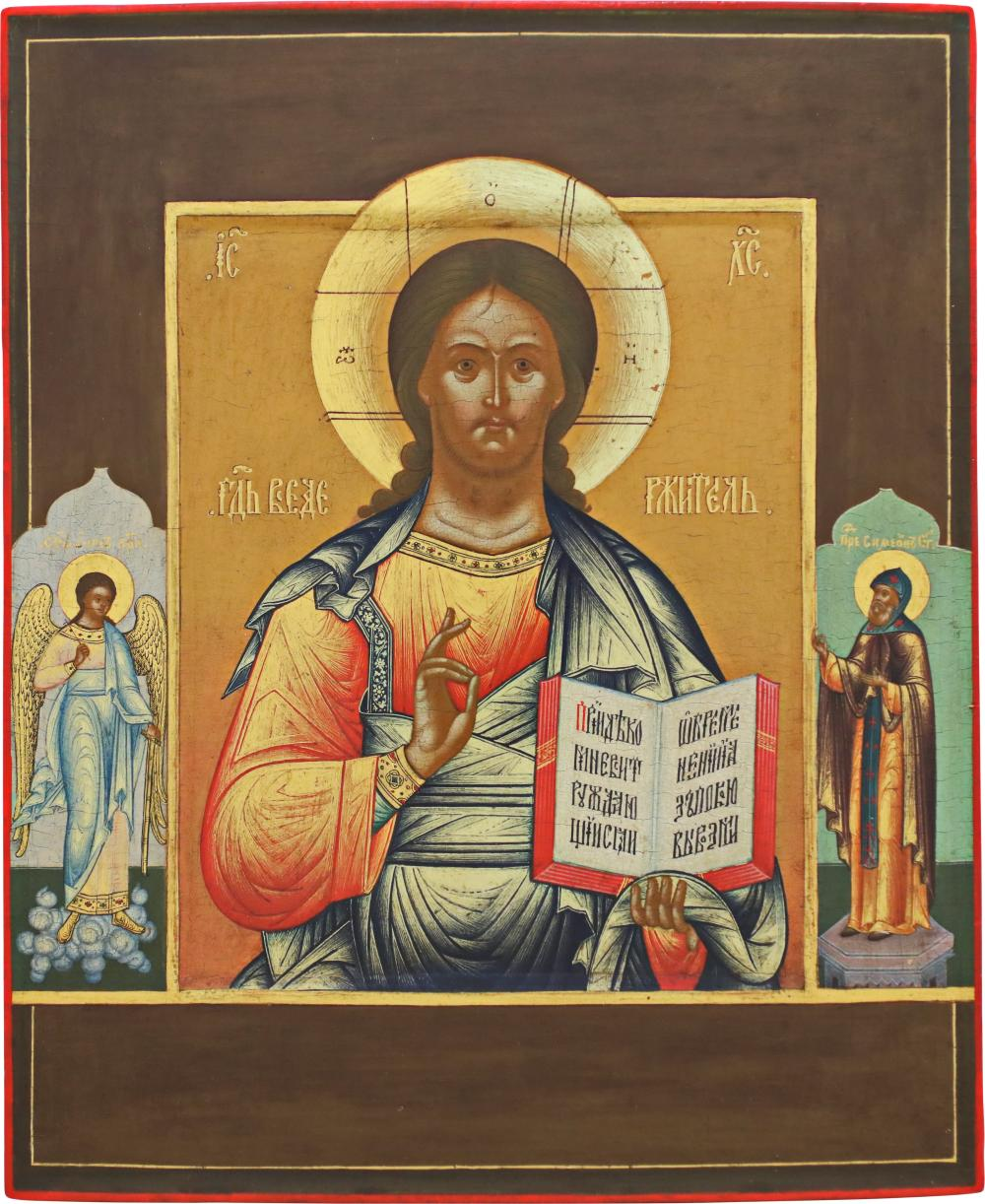 A SMALL DATED ICON SHOWING CHRIST PANTOKRATOR