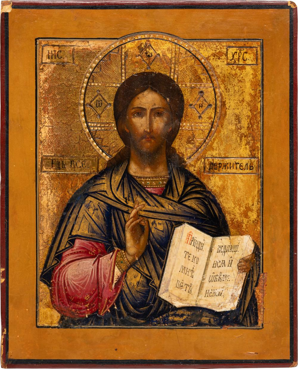 A SMALL ICON SHOWING CHRIST PANTOKRATOR