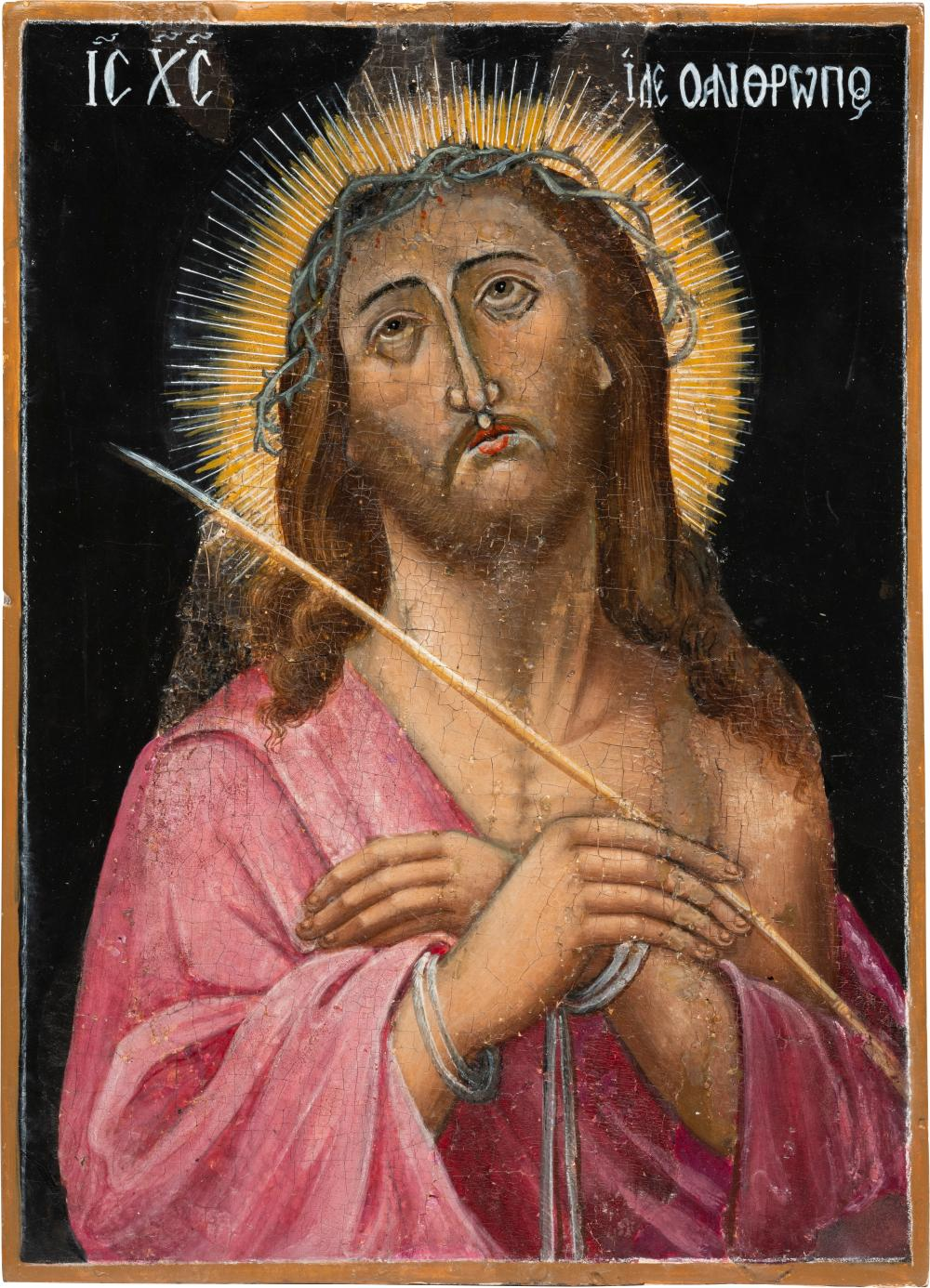 AN ICON SHOWING CHRIST CROWNED WITH THORNS