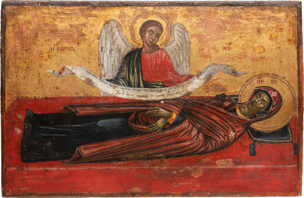A LARGE ICON SHOWING THE DORMITION OF THE MOTHER OF GOD