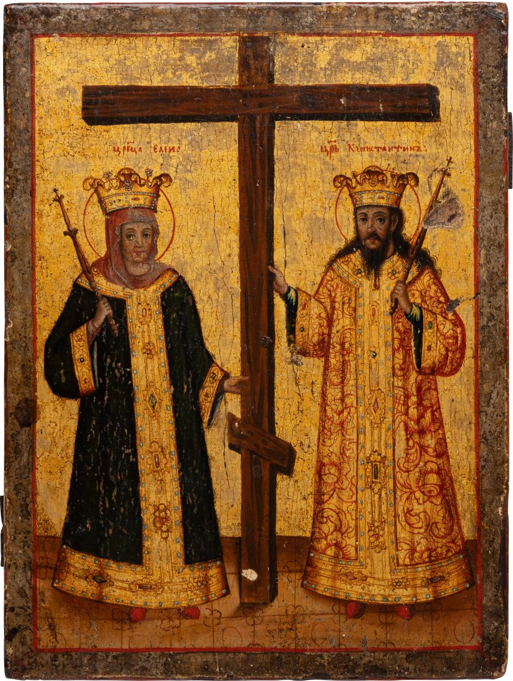 AN ICON SHOWING STS. CONSTANTINE AND HELENA