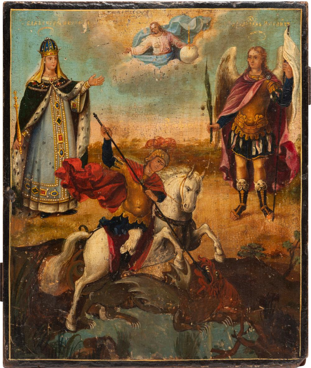 AN ICON SHOWING ST. GEORGE SLAYING THE DRAGON FLANKED BY ST