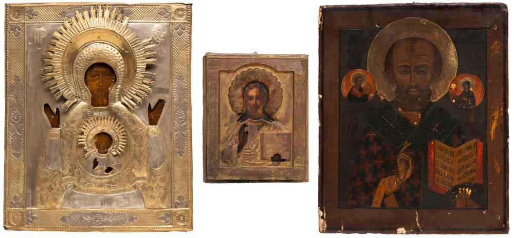 THREE ICONS SHOWING CHRIST PANTOKRATOR, THE MOTHER OF GOD O