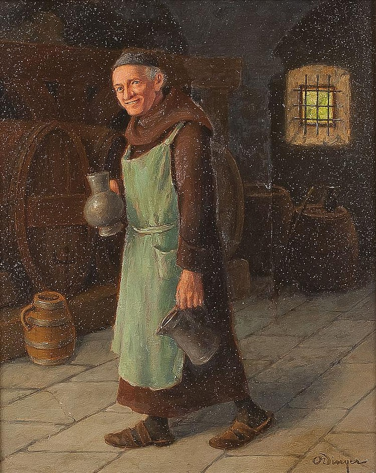 DINGER, OTTO 1860 Düsseldorf - Berlin 1928 Mönch im Weinkeller Öl auf Holzplatte, 38 cm x 33 cm, unten rechts signiert 'O Dinger', Rahmen.