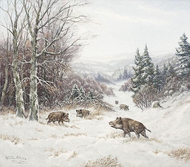 Winterlandschaft mit Wildschweinen auf verschneitem Hang