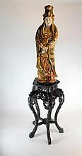 Large Antique Japanese Satsuma Guanyin or Kannon 30 Inch Statue on Antique Chinese Teakwood Stand