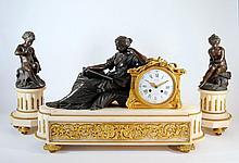 Antique 1827 Deniere French Marble Clock Garniture