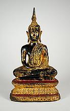Antique Thai 11 Inch Gilt Lacquer Metal Buddha Statue