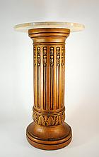 Gilt Column Marble Top Stand